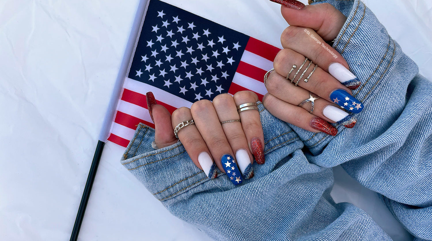 st george technology nexstgen july 4th red white and blue acrylic nails with american flag