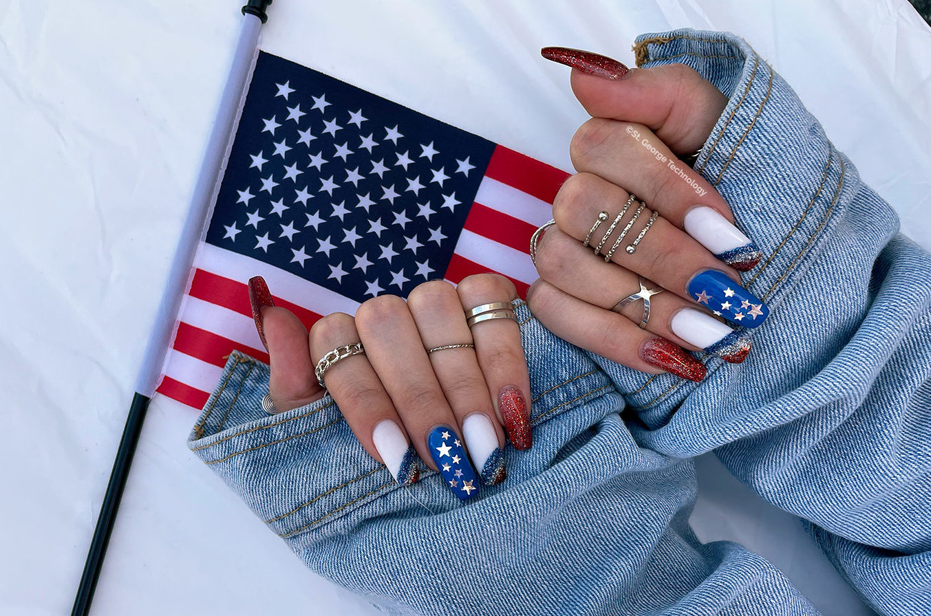 st george technology july 4th red white and blue acrylic nails with american flag